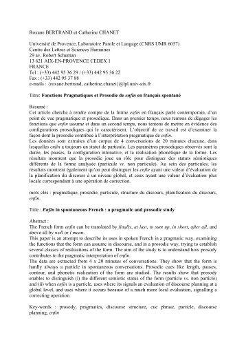 Catherine CHANET et Roxane BERTRAND - Laboratoire Parole et ...