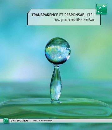 TRANSPARENCE ET RESPONSABILITÉ : - BNP Paribas