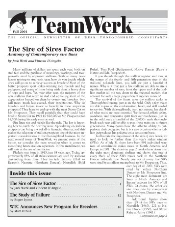 Fall 2001 Newsletter - Werk Thoroughbred Consultants