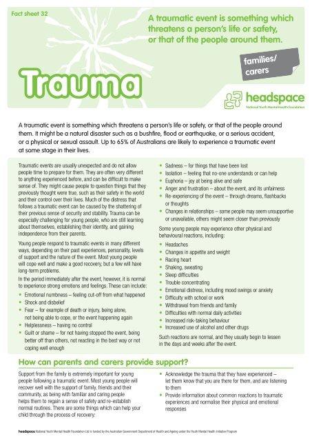 Fact sheet 32: Trauma (for families/carers) - Headspace