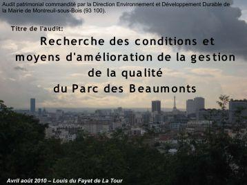 Audit patrimonial - Ville de Montreuil