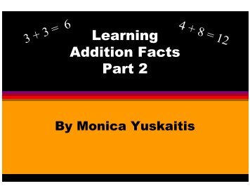 Learning Addition Facts Part 2