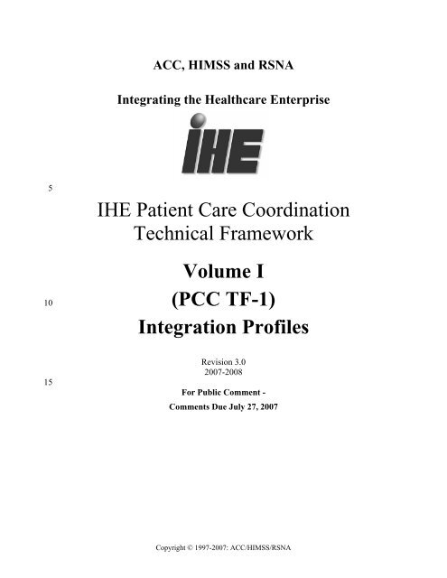 IHE Patient Care Coordination Technical Framework Vol I