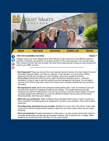 Tips for Academic Success - Mount Marty College
