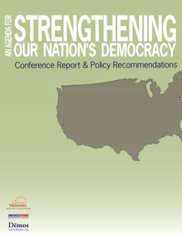 Agenda for Strengthening America's Democracy - National Coalition ...