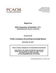 Hamilton, PC - Public Company Accounting Oversight Board
