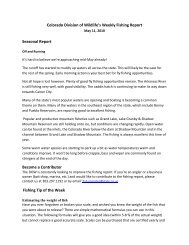 Colorado Division of Wildlife's Weekly Fishing Report Seasonal ...