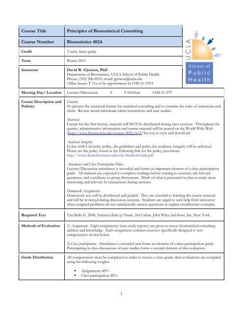 Course Syllabus UCLA Biostatistics