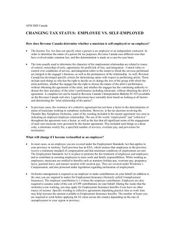 CHANGING TAX STATUS: EMPLOYEE VS. SELF-EMPLOYED