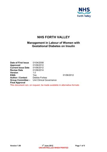 NHS FORTH VALLEY Management in Labour of Women with ...