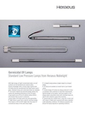 Germicidal UV Lamps Standard Low Pressure ... - Heraeus Noblelight