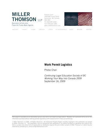 Work Permit Logistics - Miller Thomson