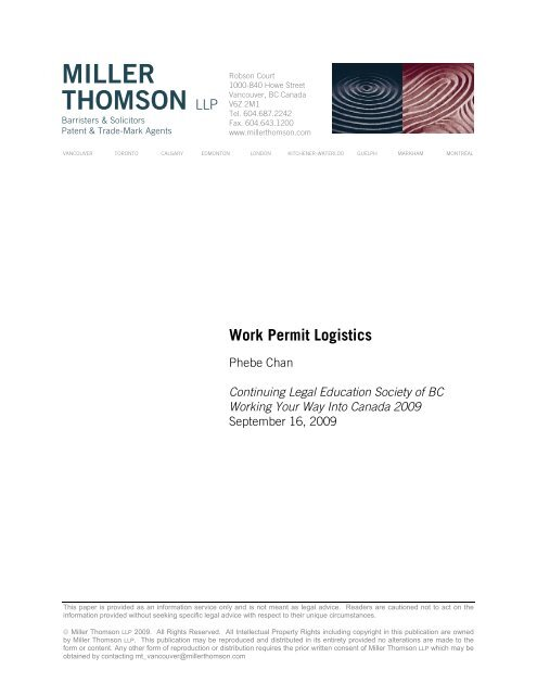 Work Permit Logistics - Miller Thomson