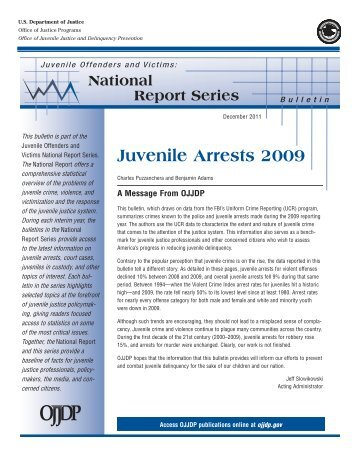 Juvenile Arrests 2009 - Office of Juvenile Justice and Delinquency ...