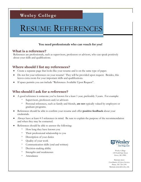 Resume References Wesley College