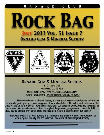 July 2013 Rock Bag Email Copy - Oxnard Gem & Mineral Society