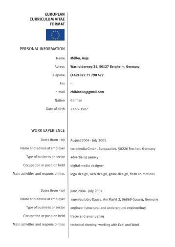standard european resume format