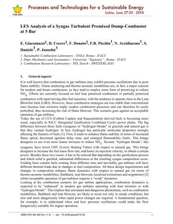 LES Analysis of a Syngas Turbulent Premixed Dump-Combustor at ...