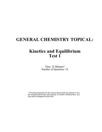 CHEMISTRY II – Equilibrium Review