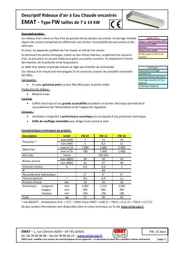 Descriptif Rideaux d'air à Eau Chaude encastrés EMAT - Type FW ...