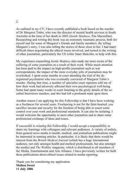 The Dart Center Ochberg Fellowship Statement of ... - Melissa Sweet