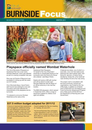 Playspace officially named Wombat Waterhole - City of Burnside