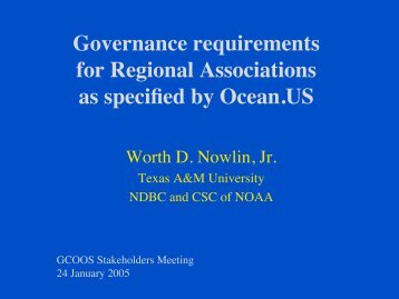 Governance requirements for Regional Associations as specified by ...