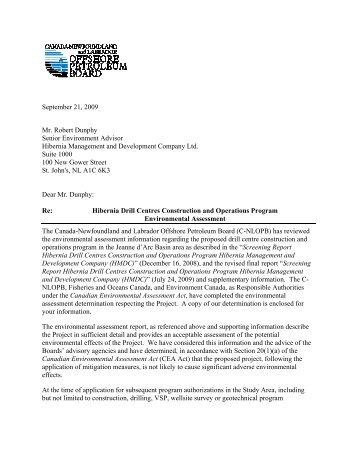 EA Determination - Canada-Newfoundland Offshore Petroleum Board
