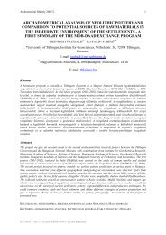 archaeometrical analysis of neolithic pottery and comparison to ...