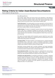 Rating Criteria for Indian Asset-Backed Securitisations - India Ratings