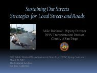 Sustaining Our Streets Strategies for Local Streets and Roads
