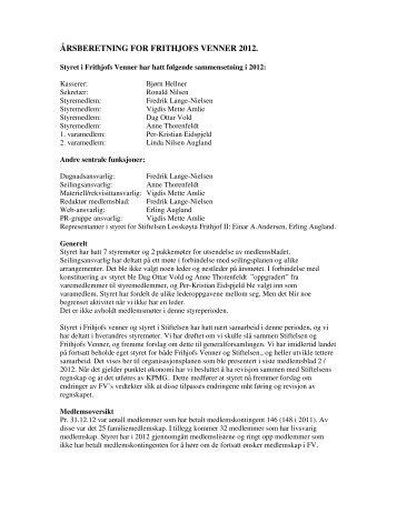 Årsberetning fra styret - Losskøyta Frithjof II