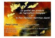 La qualité des produits de l'agriculture biologique ... - INRA Montpellier