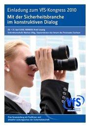 Einladung zum VfS-Kongress 2010 mit der Sicherheitsbranche im ...