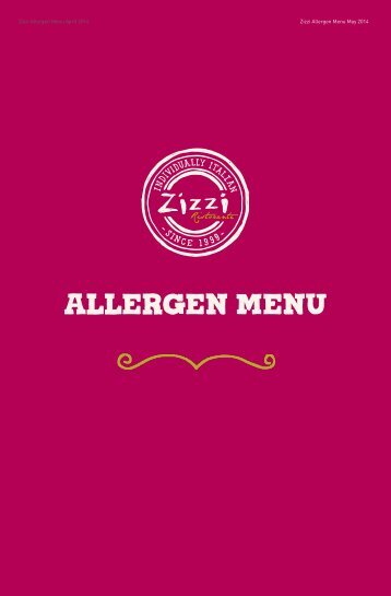 Allergen Menu May 2014