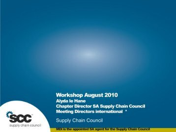 Workshop August 2010 - Supply Chain Council