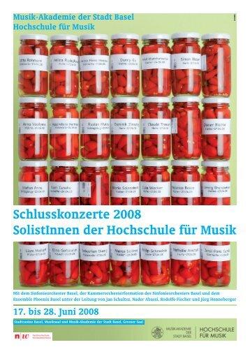 Schlusskonzerte 2008 SolistInnen der Hochschule für Musik
