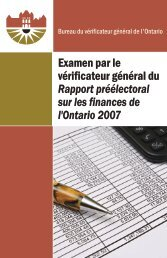 Examen par le vérificateur général du Rapport préélectoral sur les ...