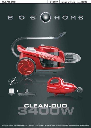 CLEAN-DUO 3400W rouge brillant Réf.: 2608 - BOB HOME