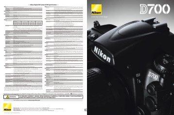 Nikon Digital SLR Camera D700 Specifications - Wex Photographic