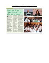 Cinnamon Grand's 'Green Forum' urges wise use of water.