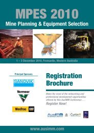 Mine Planning & Equipment Selection 2010 - The AusIMM