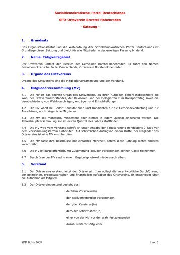 Satzung SPD-Ortsverein Borstel-Hohenraden - SPD Borstel ...