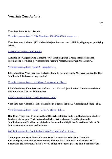 Download Vom Satz Zum Aufsatz Pdf Ebooks By