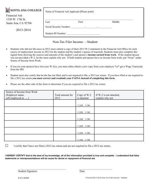 Non-Tax Filer Income —Student 2013-2014 - Santa Ana College