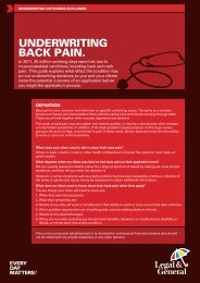 Underwriting Guide - Back Pain (Q37033) - Legal & General