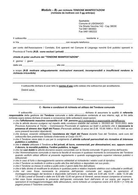 """Modulo """"B"""" richiesta TENDONE - Comune di Lisignago"""