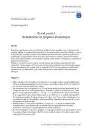 Fysisk pendel Bestemmelse av tyngdens akselerasjon - NTNU