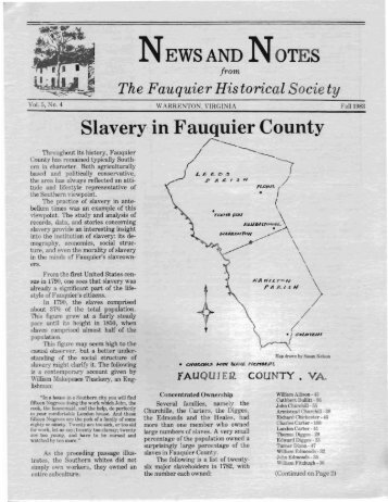 Slavery in Fauquier County - Fauquier Historical Society
