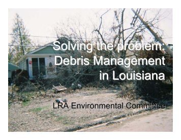 Presentation by the Sierra Club - Louisiana Recovery Authority